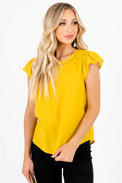 Women's Mustard Yellow Business Casual Boutique Blouse