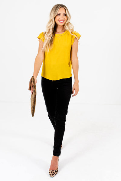 Mustard Yellow Cute and Comfortable Boutique Blouses for Women