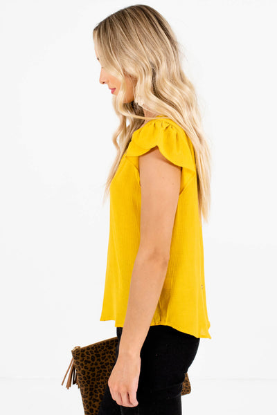 Mustard Yellow Circular Crochet Accents Boutique Blouses for Women