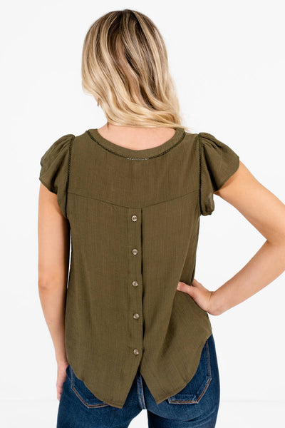 Women's Olive Green Pleated Sleeve Boutique Blouse