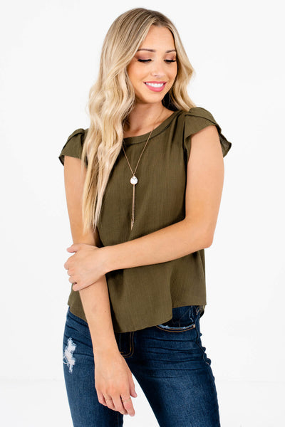 Women's Olive Green Lightweight Textured Material Boutique Blouse