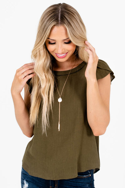 Olive Green Flowy Silhouette Boutique Blouses for Women