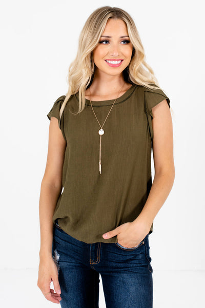 Olive Green Button-Up Back Boutique Blouses for Women