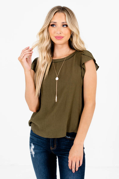 Women's Olive Green Business Casual Boutique Blouse