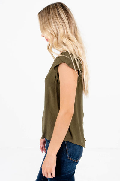 Olive Green Circular Crochet Accents Boutique Blouses for Women