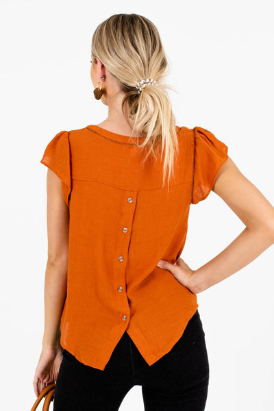 Women's Burnt Orange Pleated Sleeve Boutique Blouse