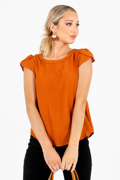 Burnt Orange Button-Up Back Boutique Blouses for Women