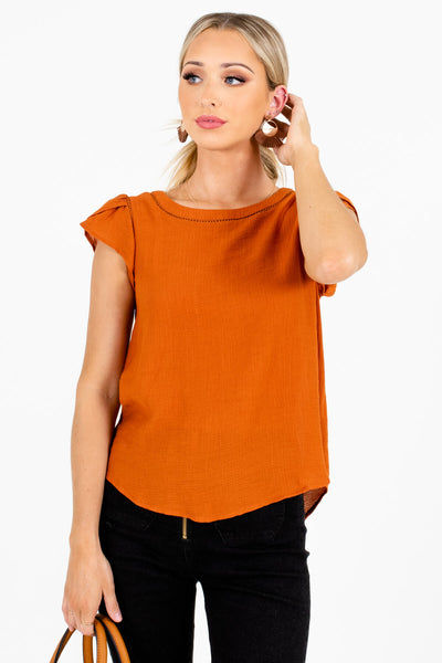 Women's Burnt Orange Business Casual Boutique Blouse