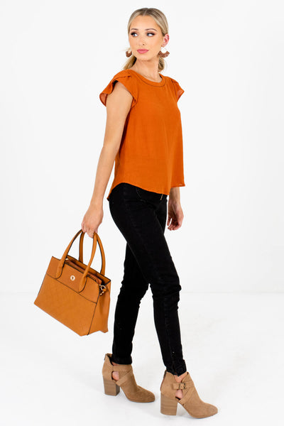 Burnt Orange Cute and Comfortable Boutique Blouses for Women