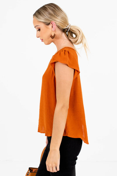 Burnt Orange Circular Crochet Accents Boutique Blouses for Women