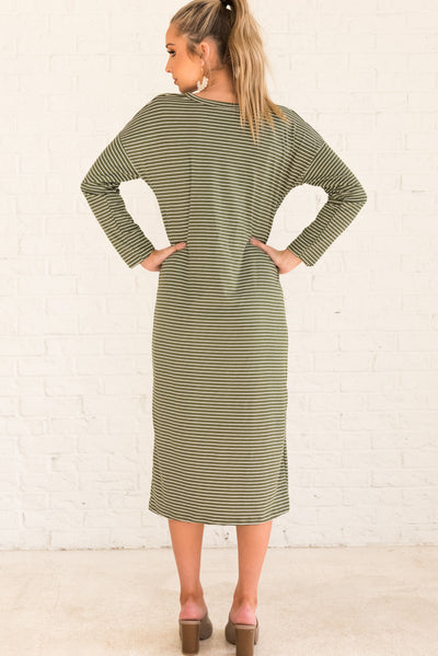 Olive Green and White Striped Comfortable Boutique Clothing for Women