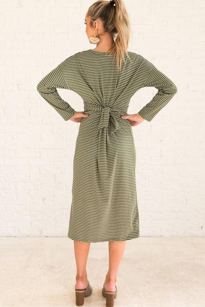 Olive Green and White Striped Women's Boutique Midi Dress