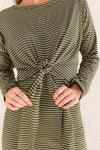 Olive Green and White Striped Fall Clothing for Women