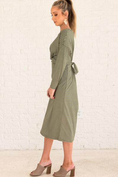 Olive Green and White Striped Long Sleeve Women's Dress