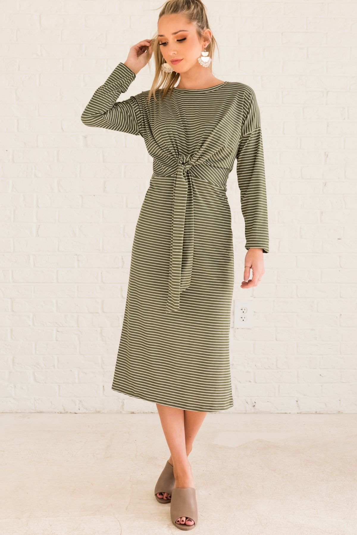 Olive Green and White Striped Tie Front Boutique Dresses for Women