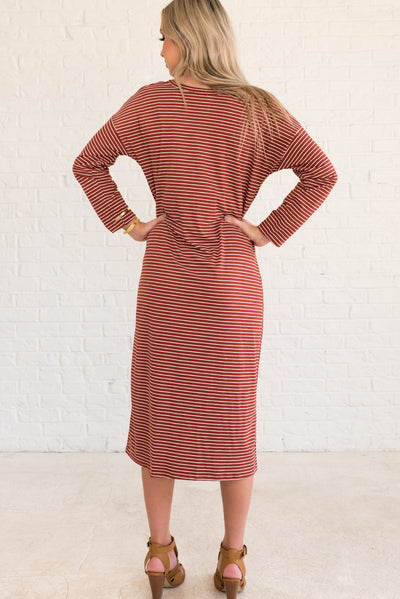 Rust Red and White Striped Winter Dresses for Women