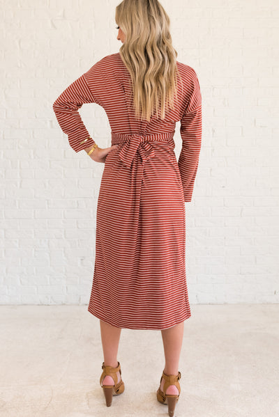 Rust Red and White Striped Affordable Online Boutique Clothing
