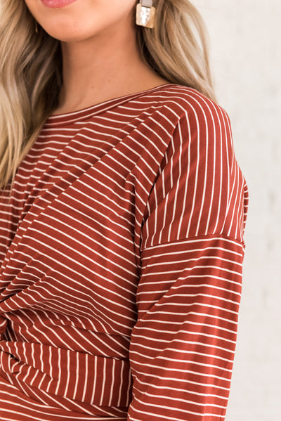 Rust Red and White Striped Long Sleeve Dresses for Women
