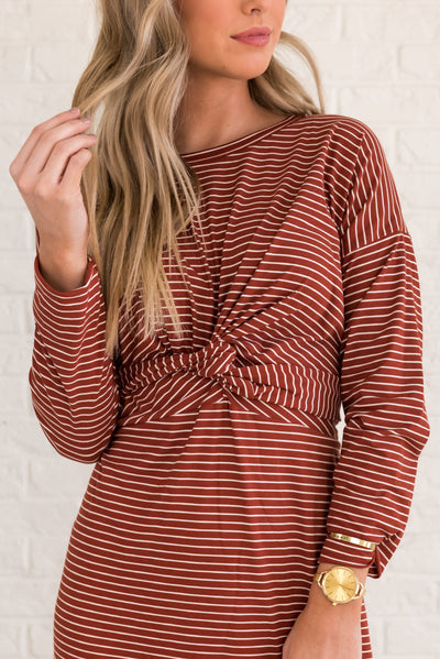 Rust Red Dressy Women's Striped Winter Clothing