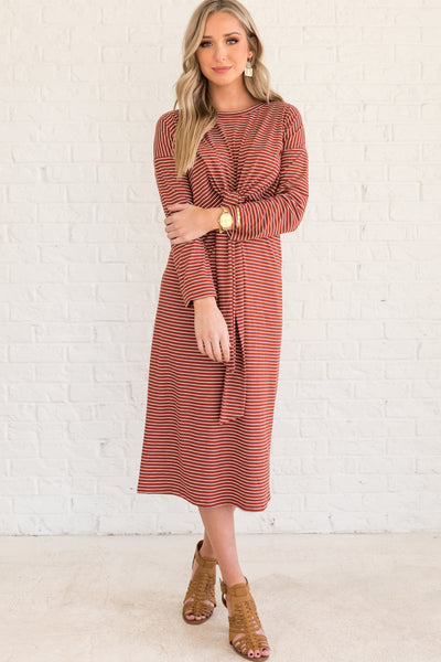 Rust Red and White Striped Midi Dresses for Women
