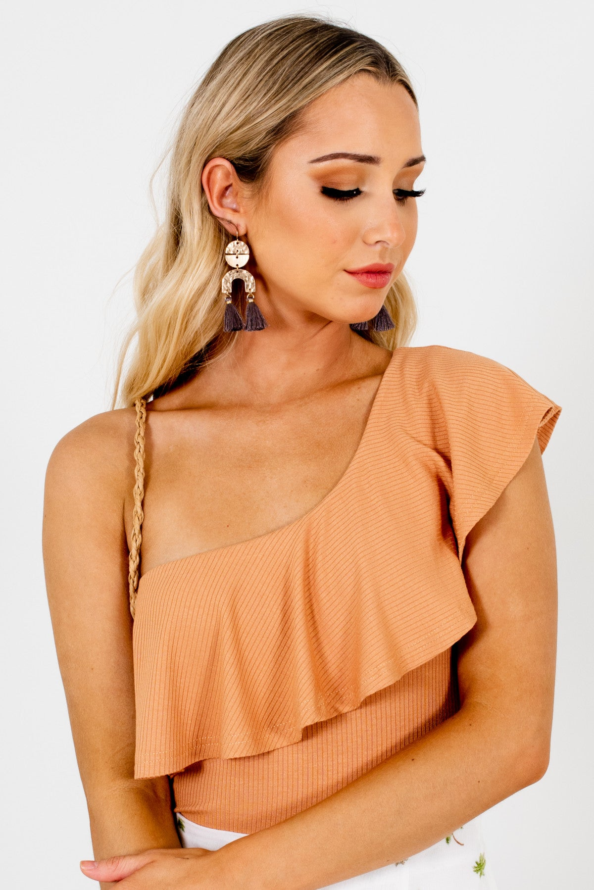 Muted Orange One Shoulder Style Boutique Bodysuits for Women