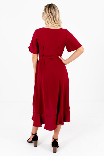 Women's Burgundy Red Ruffled High-Low Hem Boutique Midi Dress