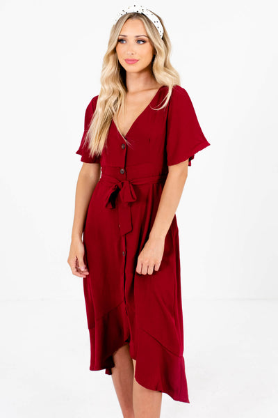Women's Burgundy Red Flowy Silhouette Boutique Midi Dress