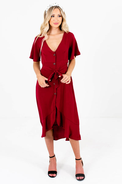 Women's Burgundy Red Fall and Winter Boutique Clothing