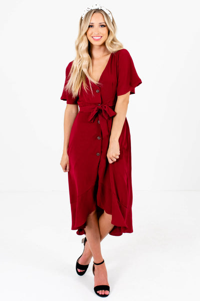 Women's Burgundy Red Ruffle Sleeve Boutique Midi Dress