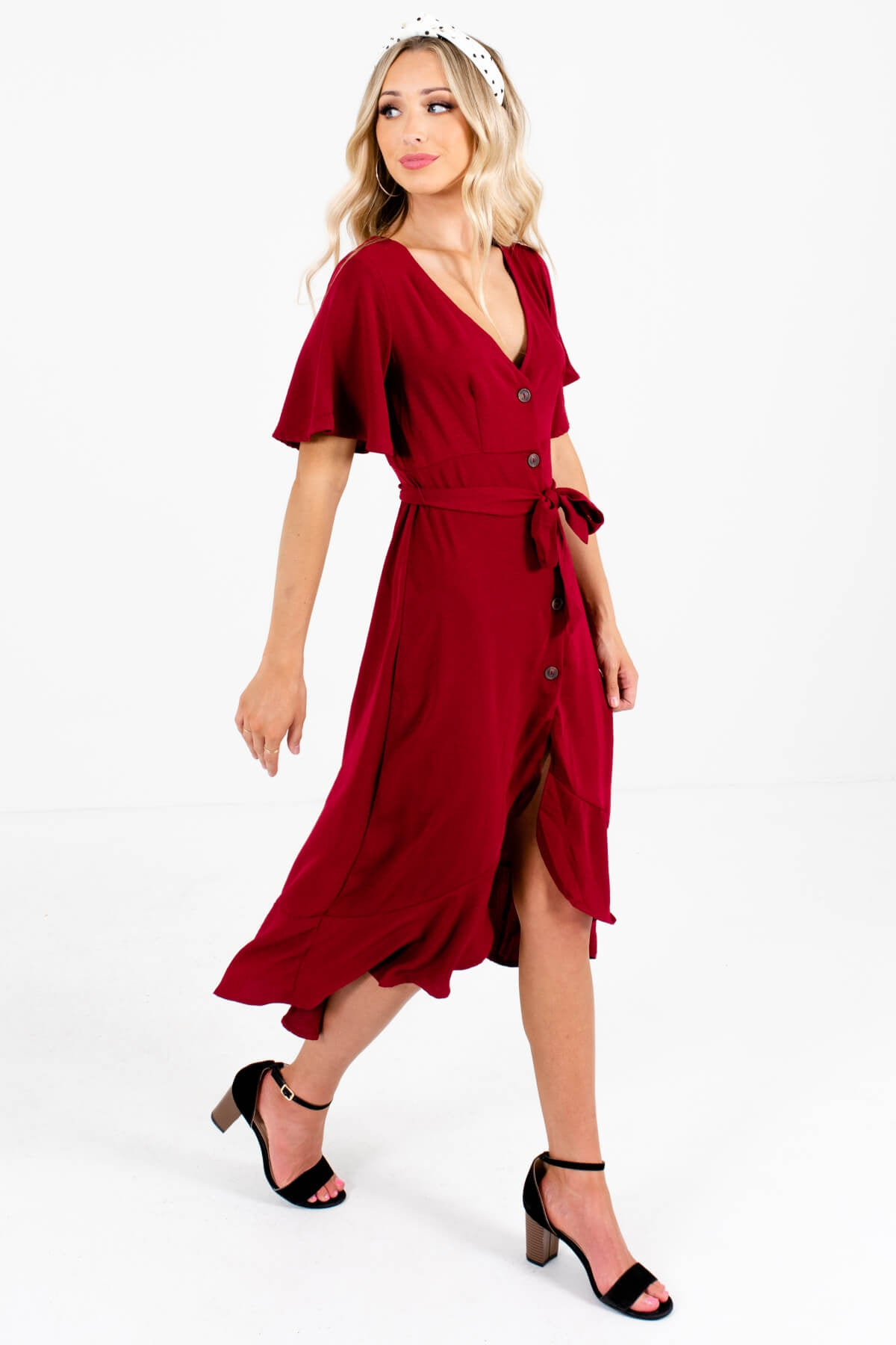 Burgundy Red Cute and Comfortable Boutique Midi Dresses for Women
