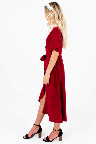 Burgundy Red Waist Tie Detail Boutique Midi Dresses for Women