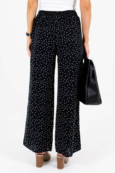 Women's Black Smocked Waistband Boutique Pants