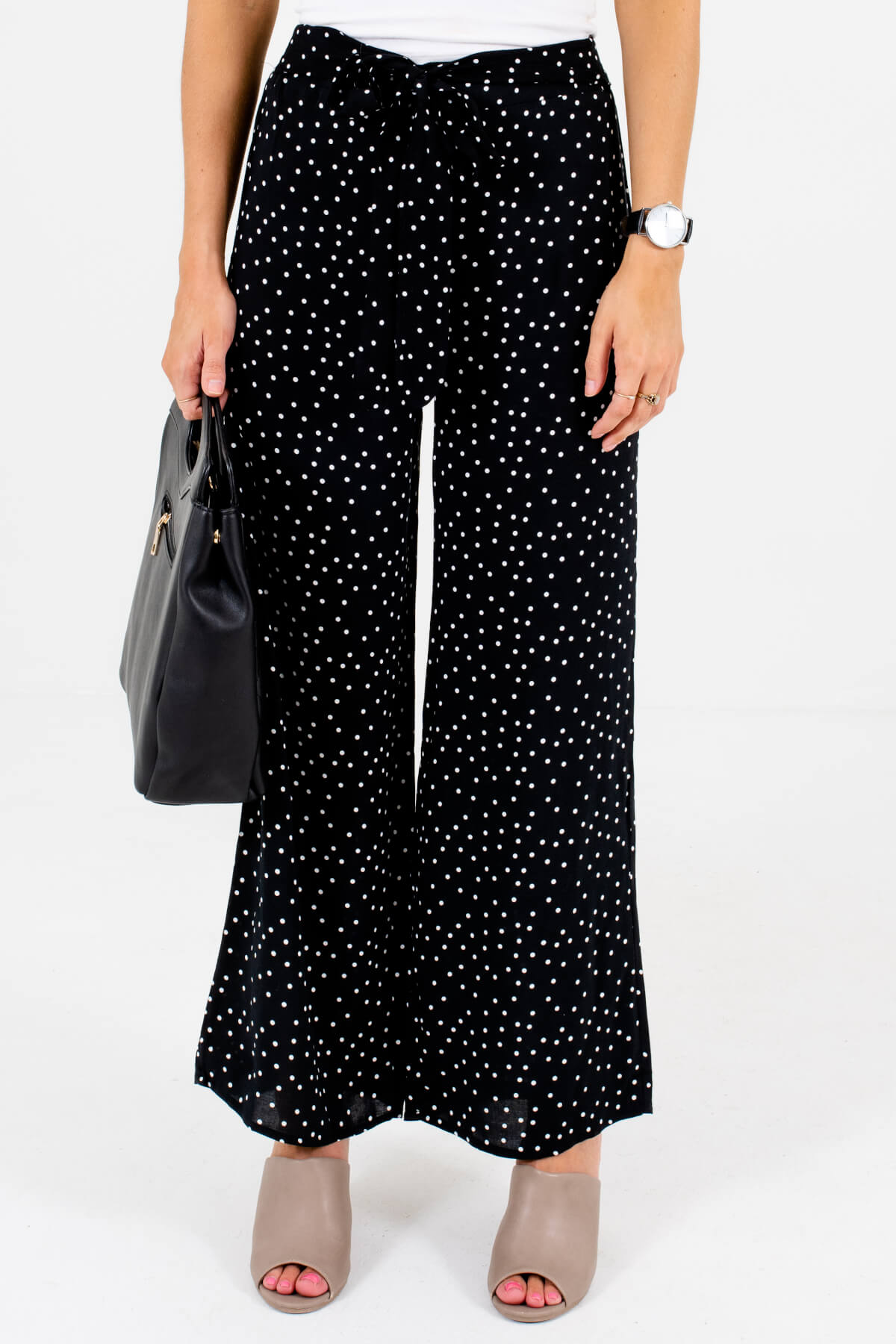 Black and White Polka Dot Patterned Boutique Pants for Women