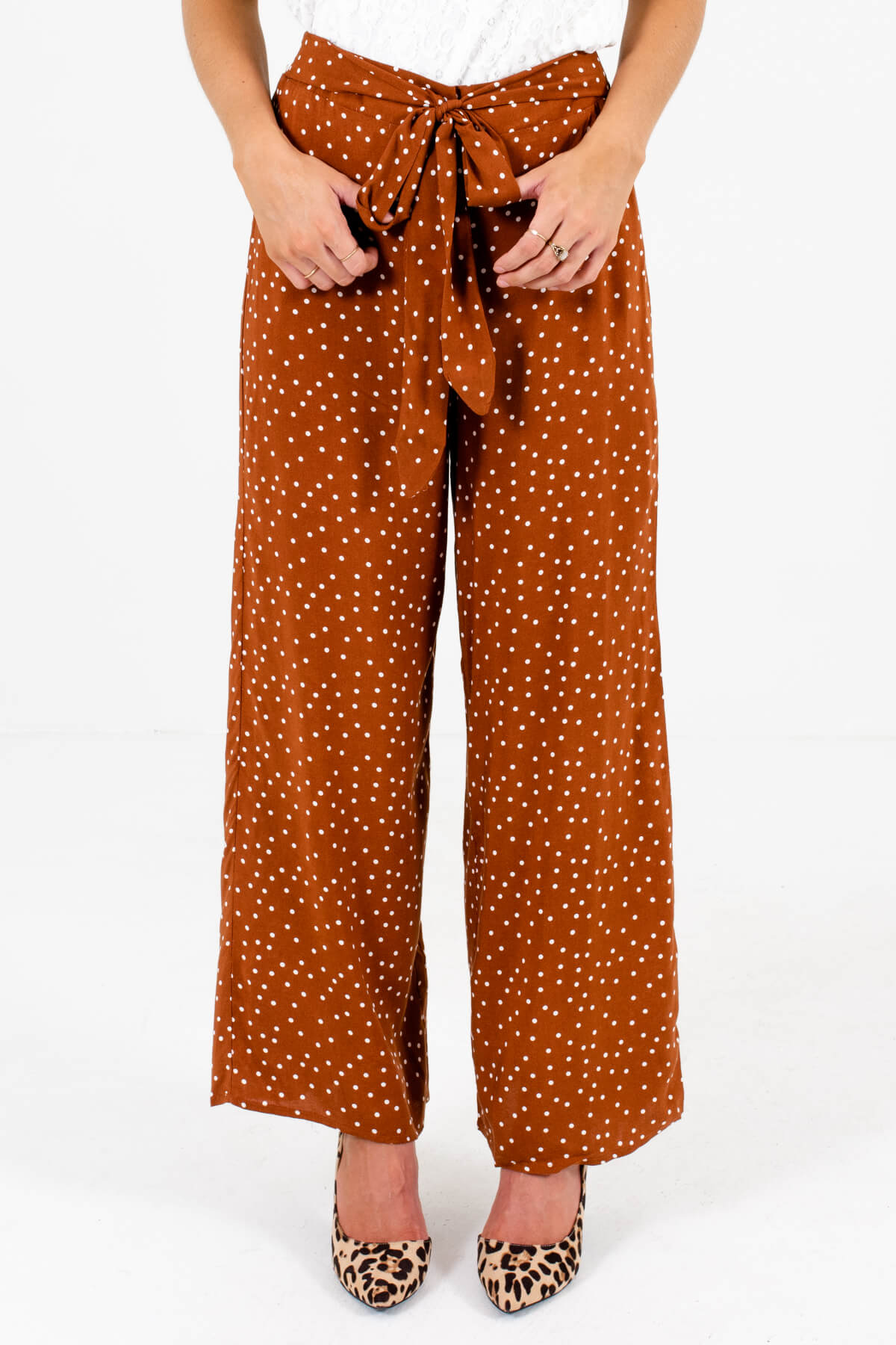 Rust Orange White Polka Dot Patterned Boutique Pants for Women