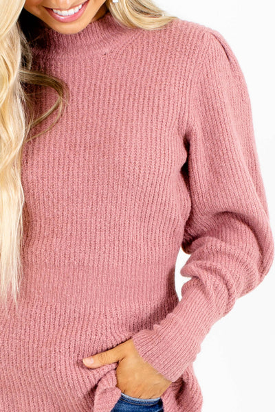 Women's Mauve High Round Neckline Boutique Sweater
