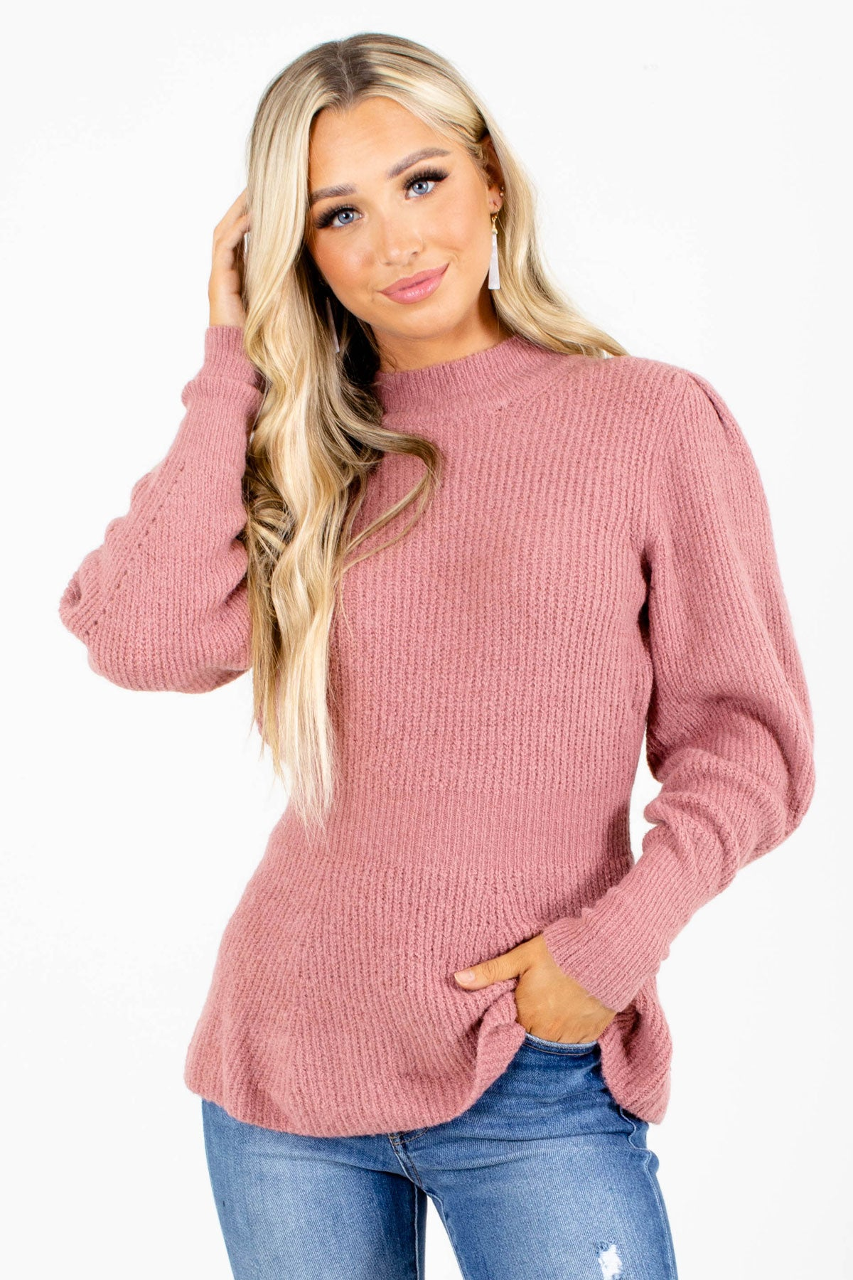 Mauve Puff Sleeve Style Boutique Sweaters for Women