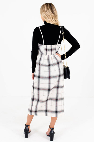 Women's Cream Plaid Adjustable Strap Boutique Midi Dress