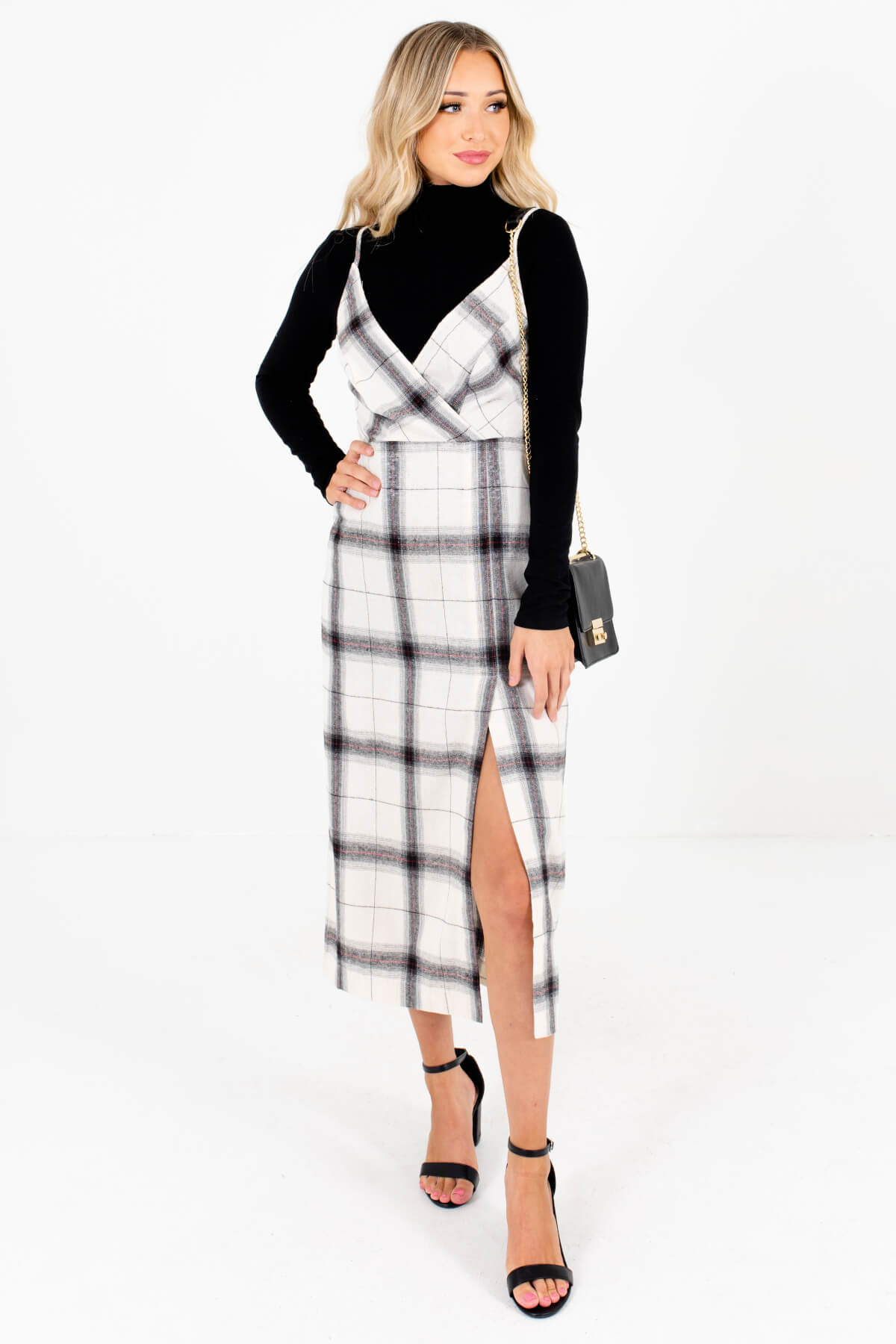Cream Multicolored Plaid Patterned Boutique Midi Dresses for Women