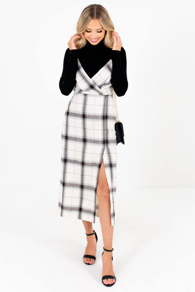 Women's Cream Plaid Partially Smocked Back Boutique Midi Dress