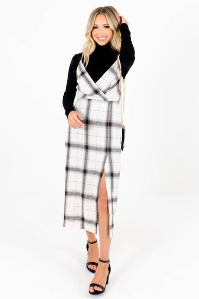 Cream Plaid Cute and Comfortable Boutique Midi Dresses for Women