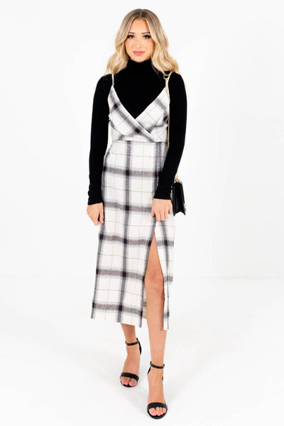 Women's Cream Plaid Side Hem Slit Boutique Midi Dress