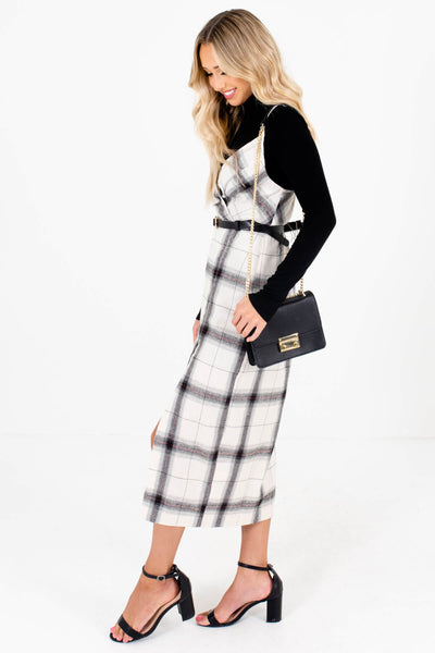 Cream Plaid Faux Wrap Bodice Boutique Midi Dresses for Women