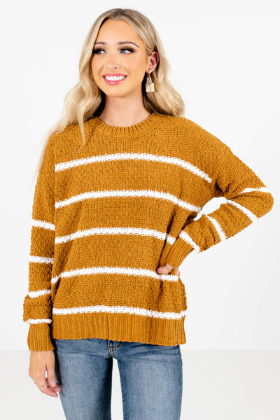 Mustard Yellow and White Stripe Patterned Boutique Sweaters for Women
