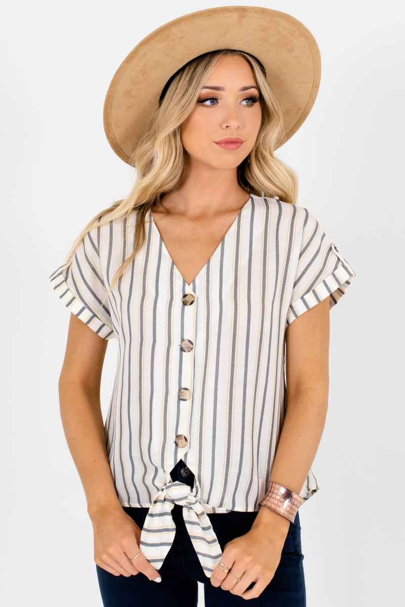 Family Ties White Striped Top