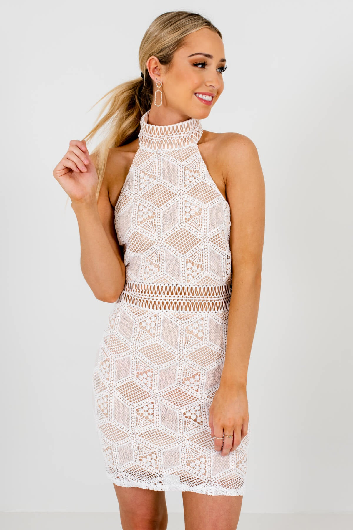 White Crochet Lace Overlay Boutique Mini Length Dresses for Women