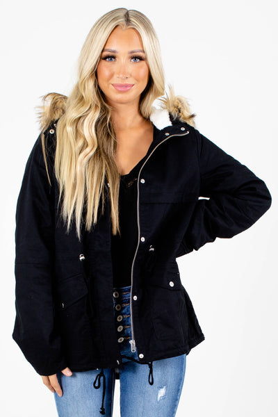 Black Cute and Comfortable Boutique Coats for Women