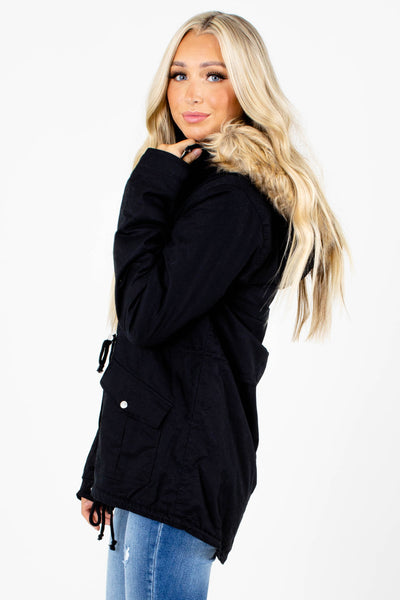 Black Cozy and Warm Boutique Outerwear for Women