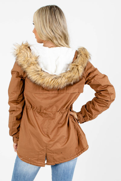 Brown Boutique Coats with Pockets for Women