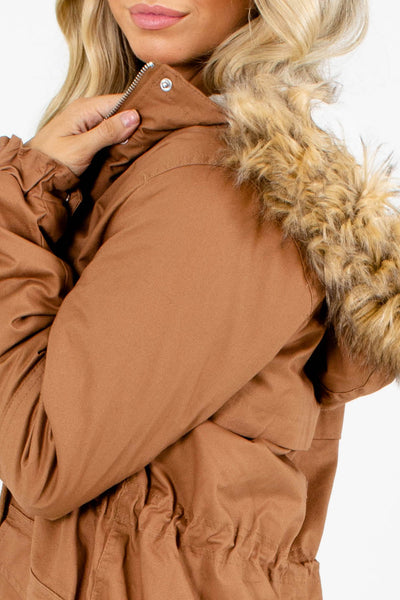 Women's Brown Coat with Hood