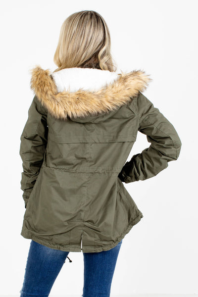 Women's Green Zip-Up Front Boutique Coat